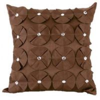 3D SHINY DIAMANTE CIRCLED RUFFLE DESIGNER FILLED CUSHION BROWN COLOUR LARGE SIZE